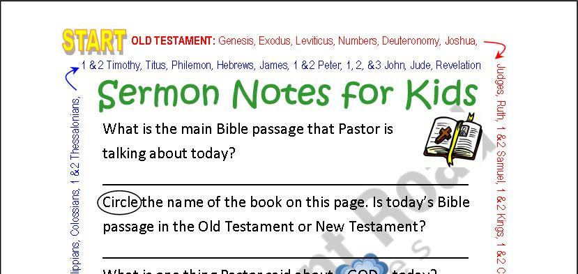 Generic Sermon Notes for Kids - COLOR